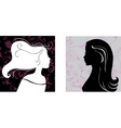 two female silhouettes on pattern background vector image vector image