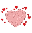 heart shaped brain icon vector image
