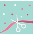 Scissors cut the ribbon Grand opening celebration vector image