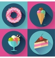 Cakes and sweets decorative icons set with donut vector image