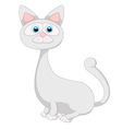 Cute white cat cartoon vector image