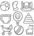 doodle of baby toys set vector image