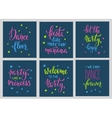 Party signs card lettering quote typography set vector image