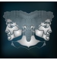 Silver twins portrait zodiac Gemini sign vector image