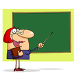 Friendly Female Teacher Pointing To A Chalkboard vector image vector image
