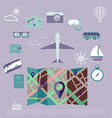 Colorful summer holiday travel planning icon set vector image