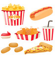 fastfood set with hotdog and popcorn vector image