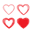Set of Hand Drawn Scribble Hearts design elements vector image