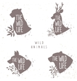 set silhouette animals vector image