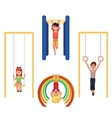 Kids at playground hanging and climbing on monkey vector image