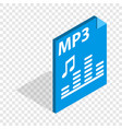 mp3 file format isometric icon vector image