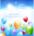 holiday background with multi-colored balloons vector image