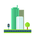 city with road and skyscraper vector image