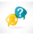 flat speech bubble icon with headphones and vector image vector image