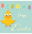 Easter border background with chick and bunting vector image vector image