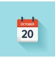 October 20  flat daily calendar icon Date vector image