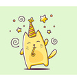 color happy character cat with hat and bl vector image
