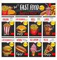 fast food restaurant menu board template design vector image