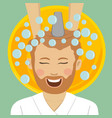 man in barbers getting washed hair with shampoo vector image