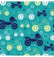 Motorcycles Blue Green Yellow Seamless vector image