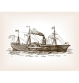 Steamship sketch style vector image