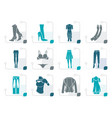 stylized woman and female clothes icons vector image
