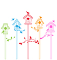 birds with houses vector image vector image