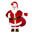 Cartoon Santa Claus holding bag with gifts with vector image