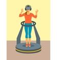 Woman virtual reality glasses on game platform vector image