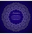 Elegant invitation card with silver round ornament vector image
