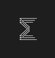 Monogram letter E of interwoven fine lines mockup vector image