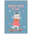Card with funny Bunny girl vector image