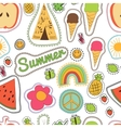 happy embroidery colorful summer patches pattern vector image