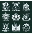 Knights Monochrome Emblems vector image