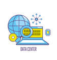 laptop technology with data center system vector image