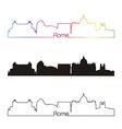 Rome skyline linear style with rainbow vector image