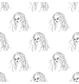 Seamless pattern fashion model portrait vector image