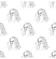 Seamless pattern fashion model portrait vector image