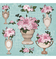 collection of vases roses on blue background vector image vector image