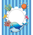A stationery with a big smiling blue shark vector image vector image