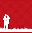 valentines day couple on a red pattern background vector image vector image
