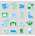 electricity and enegry symbol color stickers set vector image