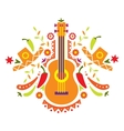Mexia guitar and various elements vector image