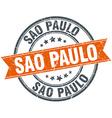Sao Paulo red round grunge vintage ribbon stamp vector image