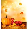 Autumn background with fresh fruit and leaves vector image