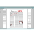 Business newspaper with browser window frame vector image