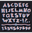 Cartoon Retro 3D Font with Strips on Black vector image
