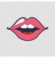 quirky lips patch sticker isolated on vector image