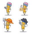set of pencil character with doctor money bag vector image