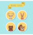 set of stickers with cute wild animals vector image